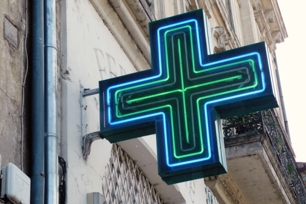 Blue & Green Neon sign for pharmacy in London
