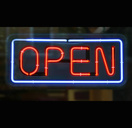 Neon Shop Sign, Open